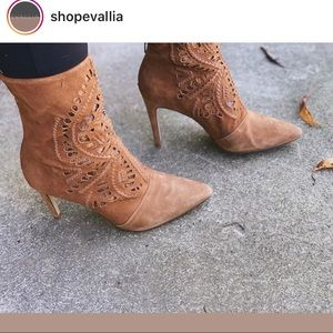 ANTONIO MELANI Suede Laser Cut Out Pointed Booties